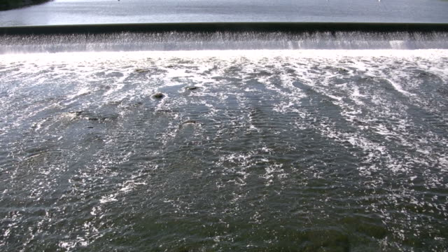 River's surface is turbulent, creating white water rapids (High Definition) video