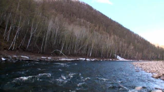 temnik 川の河原はバイカルの国境にあります。 - 自然旅行点の映像素材/bロール