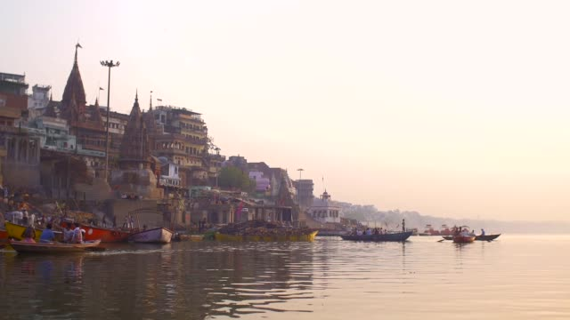 riverside Varanasi at sunset video