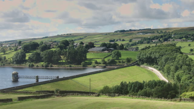 Road Across Dam Surrounded by Farmland video