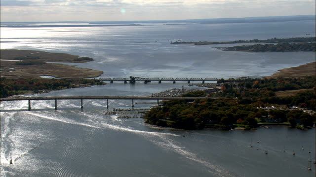 Road And Rail Bridges Across the Connecticut River  - Aerial View - Connecticut,  Middlesex County,  United States video