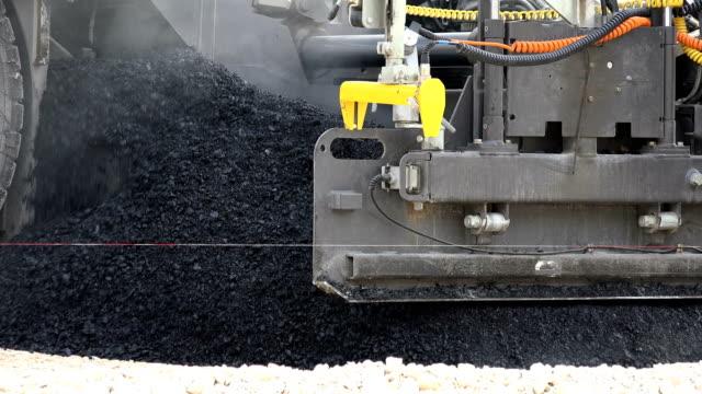 Road Construction. Asphalt Paving Machines, close up