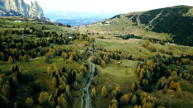 road in seiser alm - south tyrol - landscape video stock e b–roll