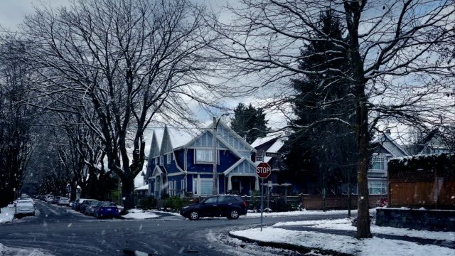 Road In Suburbs On Snowy Winter Day Cars drive through residential area in the city in heavy snowfall vancouver canada stock videos & royalty-free footage