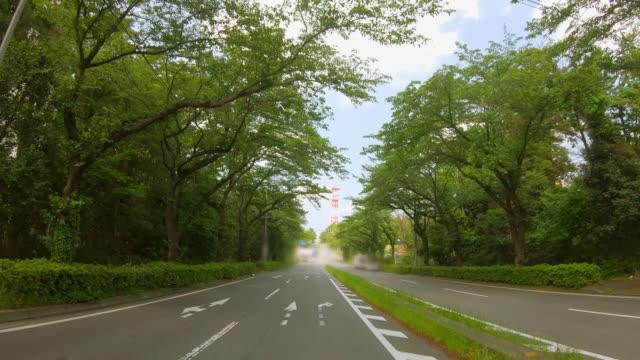 road in the suburbs of yokohama where the fresh green is beautiful - wagon kolejowy filmów i materiałów b-roll