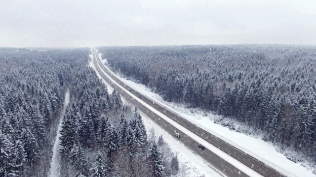 4K. Road in the winter forest with driving cars at snowfall. Aerial panoramic view. Vanishing point perspective 4K. Road in the winter forest with driving cars at snowfall. Aerial panoramic view. Vanishing point perspective. siberia stock videos & royalty-free footage