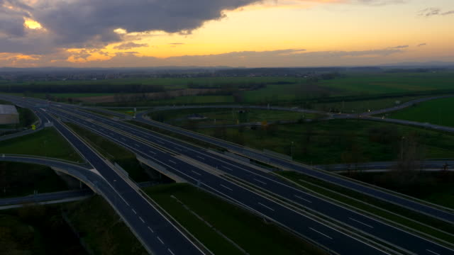 AERIAL Road Intersections At Dusk video