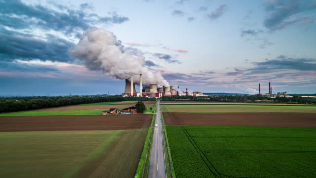 AERIAL: Road leading to coal fired power station