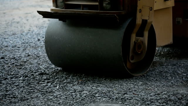 Road Roller On The Road Construction video