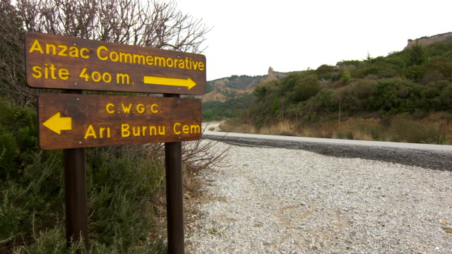 Road sign to monuments and cemeteries of British and Australian army forces Road sign to monuments and cemeteries of British and Australian army forces in Gallipoli in Canakkale-Turkey çanakkale province stock videos & royalty-free footage