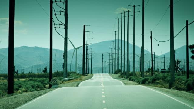 Road Through Desert Wind Farm video