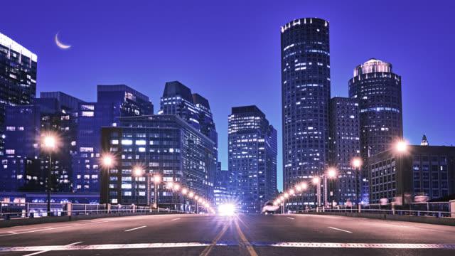 Road to Boston. Bridge at night, Massachusetts video