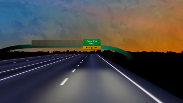 vídeos y material grabado en eventos de stock de camino hacia el futuro drive-hd - señalización vial