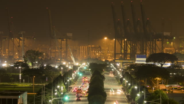 Road to industrial shipyard zoom out video