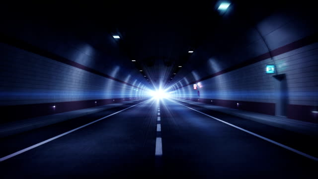 Road tunnel. Blue version. HD loop. video