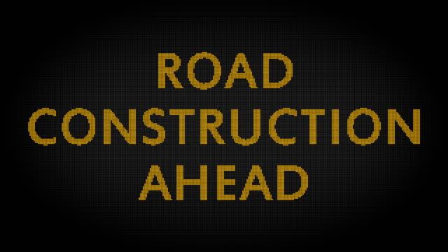stockvideo's en b-roll-footage met road in aanbouw - bord bericht
