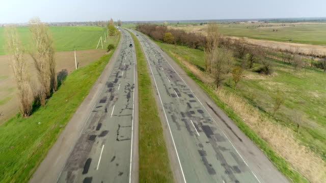 Road with cars. Aerial survey