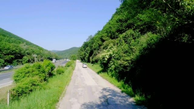 roads and green nature - parte della pianta video stock e b–roll
