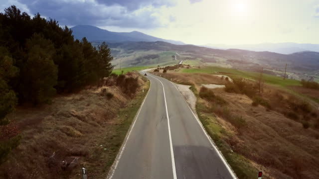Roads of Tuscany from a drone video