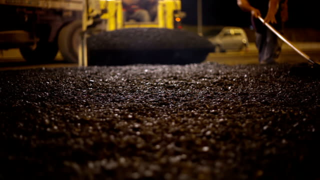 Roadworks. Asphalt paving video