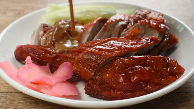 roasted duck meat and pickled ginger dressing sweet sauce
