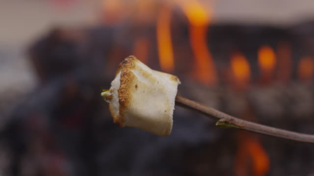 Roasted marshmallow by campfire. Roasted marshmallow by campfire. Shot on RED EPIC for high quality 4K, UHD, Ultra HD resolution. marshmallow stock videos & royalty-free footage