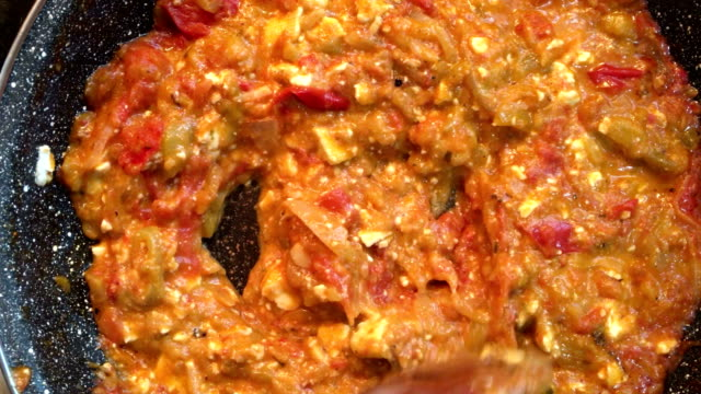 Roasted peppers tomato and cheese breakfast Roasted peppers tomato and cheese breakfast pesto sauce stock videos & royalty-free footage