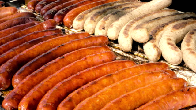 Roasted sausages, sausages grilled on fire
