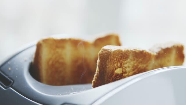 stockvideo's en b-roll-footage met geroosterd toast brood opduiken van broodrooster - geroosterd brood