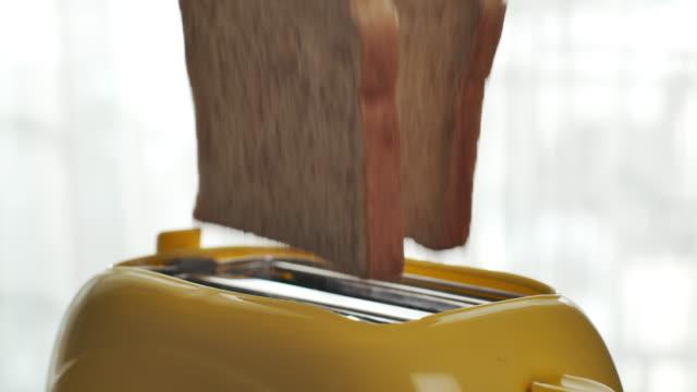 stockvideo's en b-roll-footage met geroosterd toastbrood dat van broodrooster opduikt, langzame motie - geroosterd brood