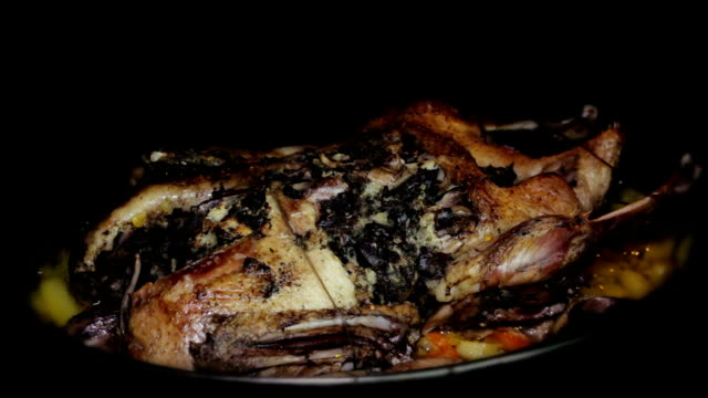 Roasting Goose With Potatoes and Vegetables in the Oven Roasting Goose With Potatoes and Vegetables in the Oven goosebumps stock videos & royalty-free footage