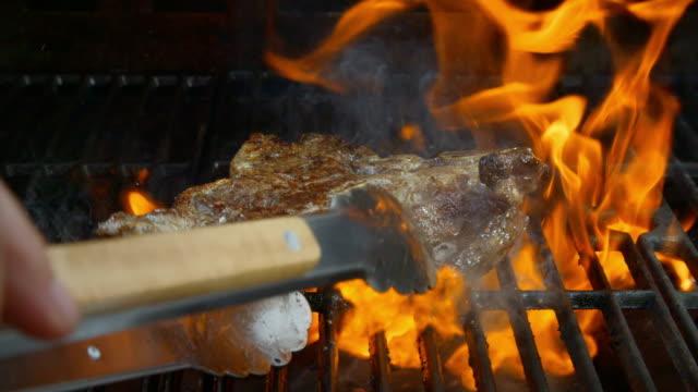 Roasting T-Bone Steak on Barbecue Grill video