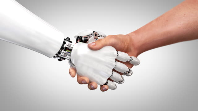 Robot and Man Shaking Hands Robot and Man Shaking Hands. Beautiful realistic 3d animation on a green background with a pass of depth of field. 4K robot stock videos & royalty-free footage