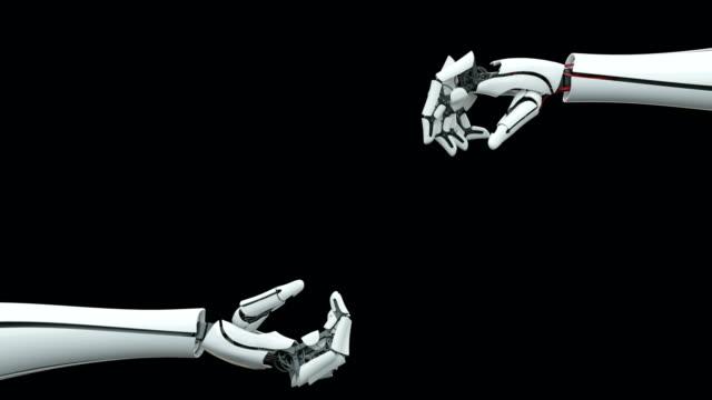 vídeos de stock, filmes e b-roll de braço robótico, prótese biônica, conexão, comunicação. - braço humano