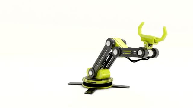 Robot arm (Alpha channel) http://s019.radikal.ru/i632/1504/86/7178a78a0795.jpg robot arm stock videos & royalty-free footage