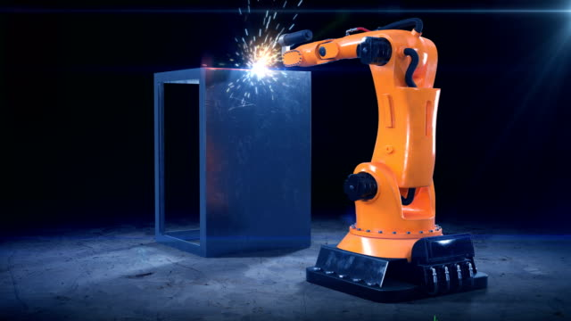 Robot Arm Welding Process at Workshop. High Precision Modern Tool in Heavy Industry. Automatic work. Technology and Industrial Concept. video