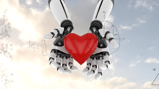 Robot arms holding a heart