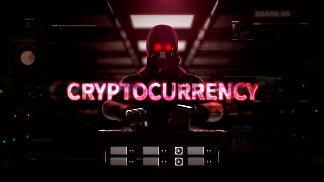 robot, cyborg hacker che lavora su un computer server con errore di battitura 'criptovaluta' sicurezza intelligenza artificiale, 4k. - criptovaluta video stock e b–roll