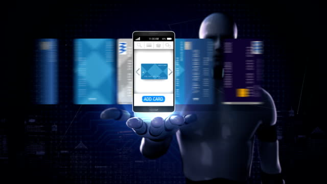 Robot, cyborg open palm,  credit card into smartphone, mobile, concept of mobile payment, mobile credit card. video
