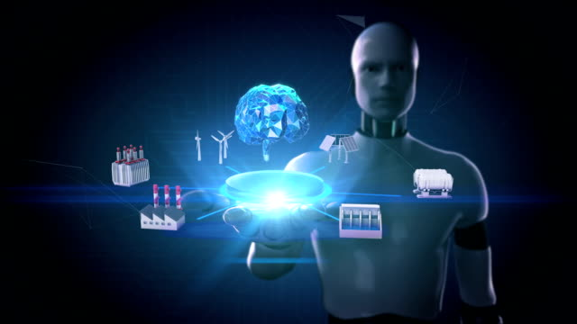 Robot Cyborg Open Palm Smart Factory Solar Panel Wind