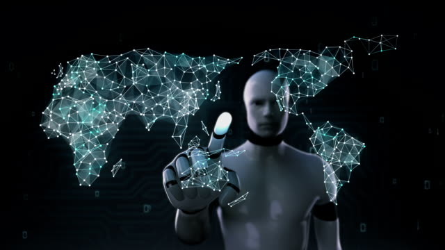 Robot, cyborg touch screen, human icon connect global world map, dot makes global communication. social media network. 6. video