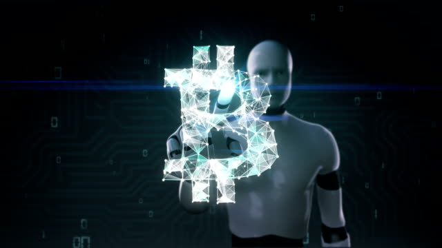 Robot, cyborg touched screen, Numerous dots gather to create a Bitcoin currency sign, low-polygon web. video