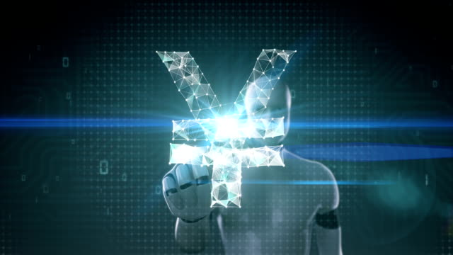 roboter, cyborg bildschirm berührt, sammeln zahlreiche punkte um eine yen-währung-zeichen zu erstellen. - woman and polygon stock-videos und b-roll-filmmaterial