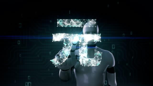 roboter, cyborg bildschirm berührt, sammeln zahlreiche punkte um ein yuan-währung-zeichen zu erstellen. - woman and polygon stock-videos und b-roll-filmmaterial