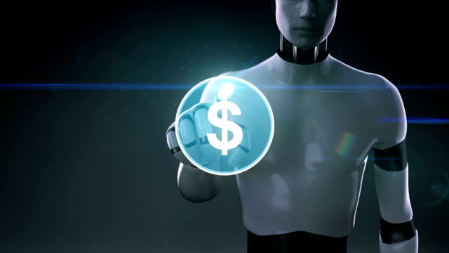 Robot, cyborg touching dollar, currency sign makes global world map, internet of things. financial technology.2. video