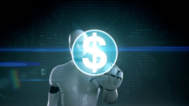 Robot, cyborg touching dollar, currency sign makes global world map, internet of things. financial technology.1. video