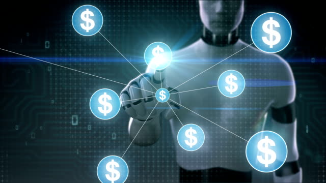 Robot, cyborg touching Dollar currency symbol, Numerous dots gather to create a Pound currency sign, dots makes global world map, internet of things. financial technology.2. video