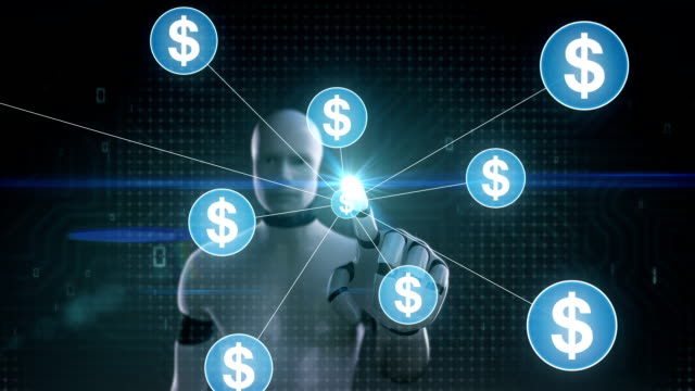 Robot, cyborg touching Dollar currency symbol, Numerous dots gather to create a Pound currency sign, dots makes global world map, internet of things. financial technology.1. video