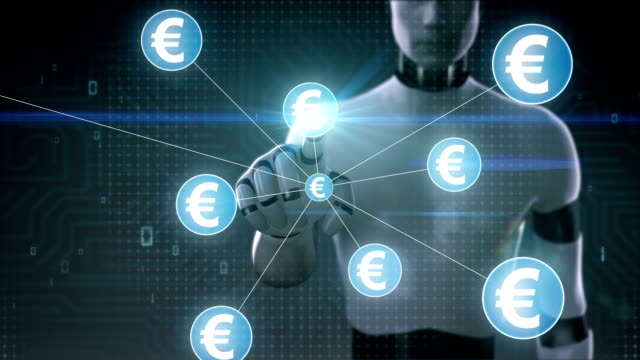 Robot, cyborg touching Euro currency symbol, Numerous dots gather to create a Pound currency sign, dots makes global world map, internet of things. financial technology.2. video