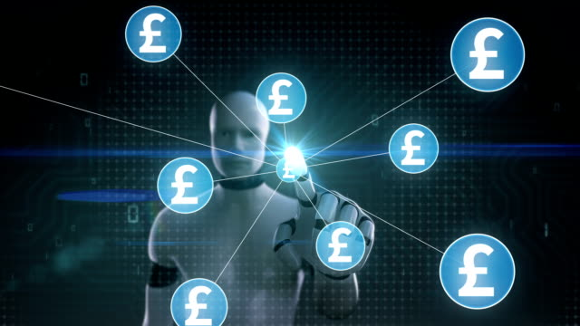 Robot, cyborg touching Pound currency symbol, Numerous dots gather to create a Pound currency sign, dots makes global world map, internet of things. financial technology.1. video
